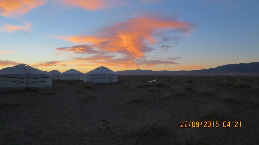 Beautiful daybreak as we started from the Gobi discovery camp