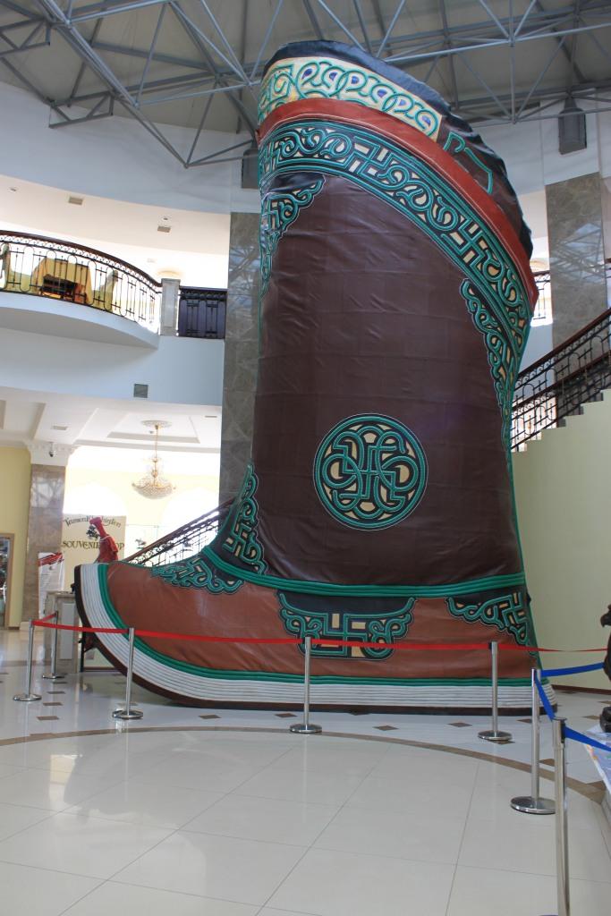 Giant Mongolian boot inside the Chinggis Khan museum below his statue
