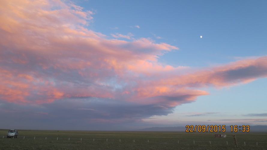Colours of the sky at Gobi Discovery Tour camp in the Bayanzag area