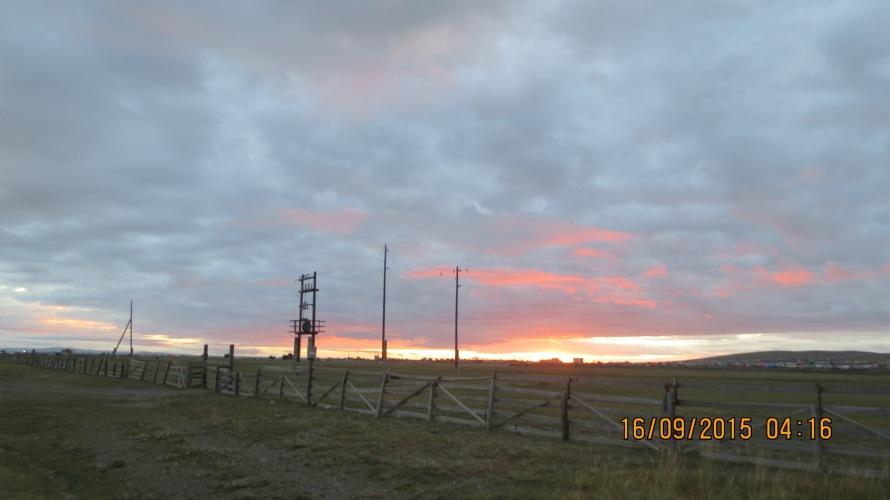 Stunning sunrise at the Munkh Camp