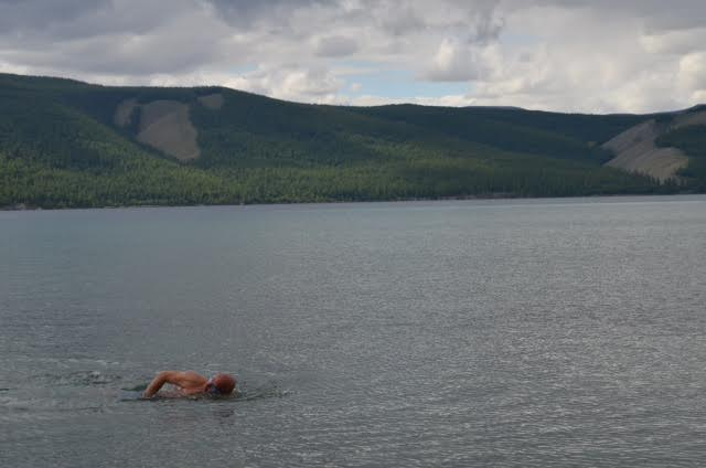 Pic courtesy Nara ... Krishnan enjoying his swim