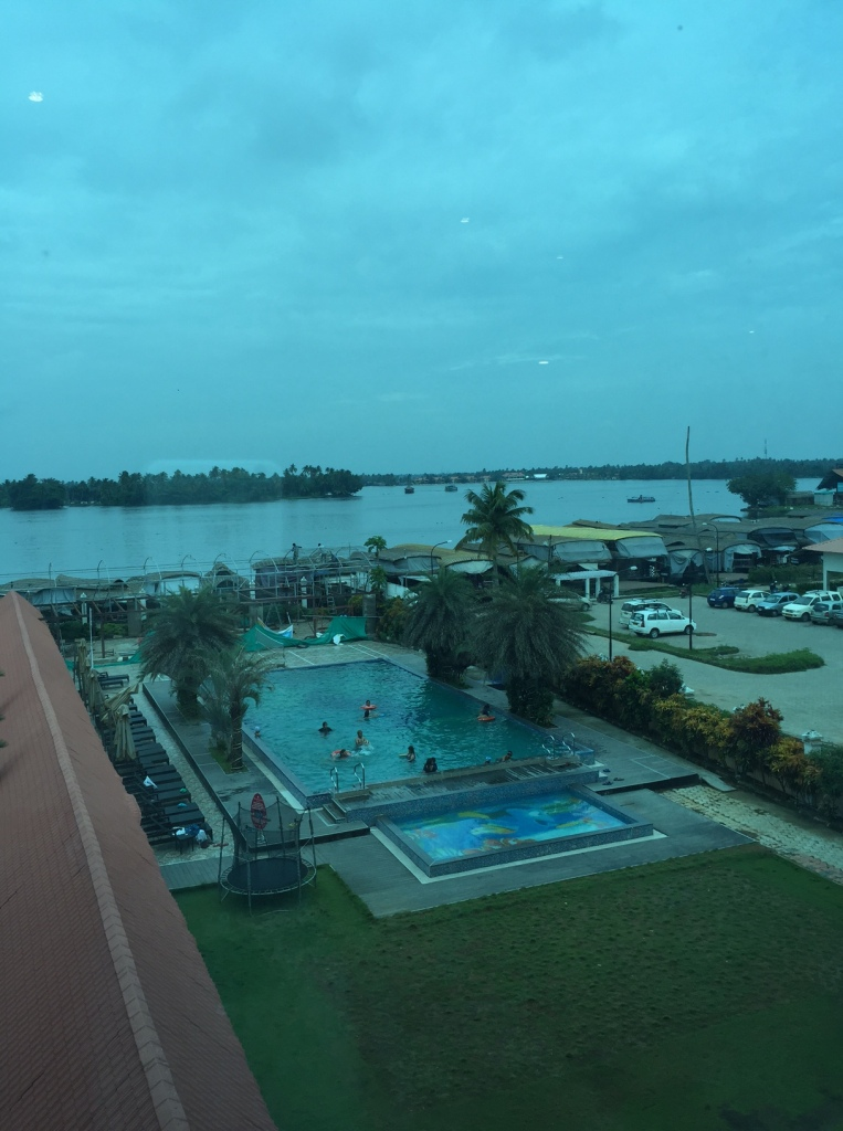 Beautiful view from our room. The backwaters look serene. it rained on most days, but this picture was taken by Krishnan when it didn't rain for a few minutes.
