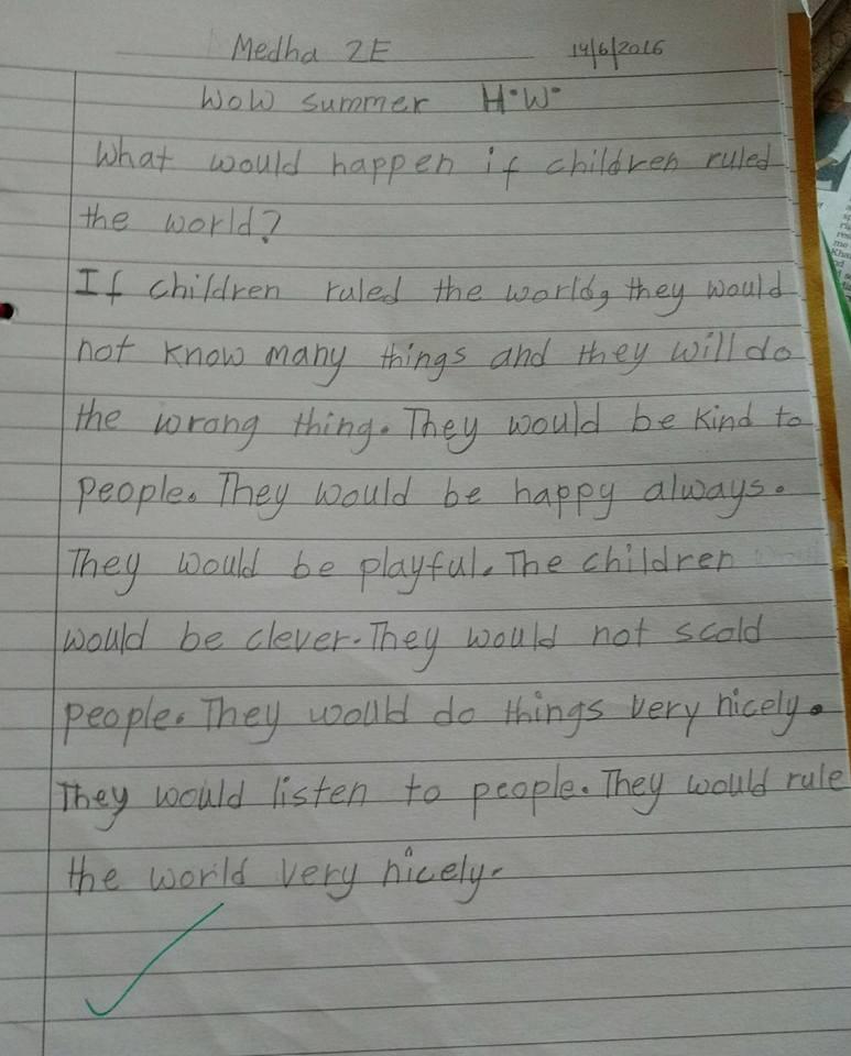 Medha's essay - if children ruled the world