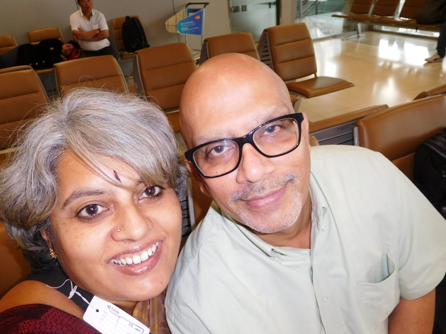 Happy to be travelling .... Selfie with the new Nikon camera. Krishnan is sleepy :)