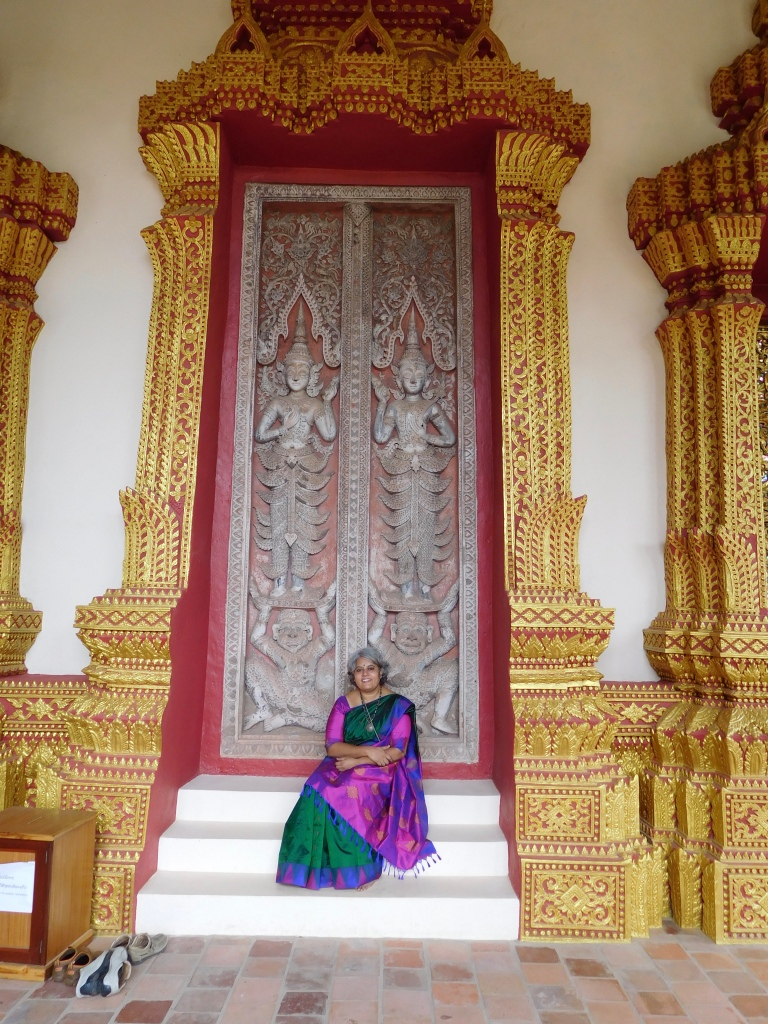 The stairs pose to show off my pretty sari and its even prettier pallu. The detailed artwork used to be a door earlier and has been restored really well.