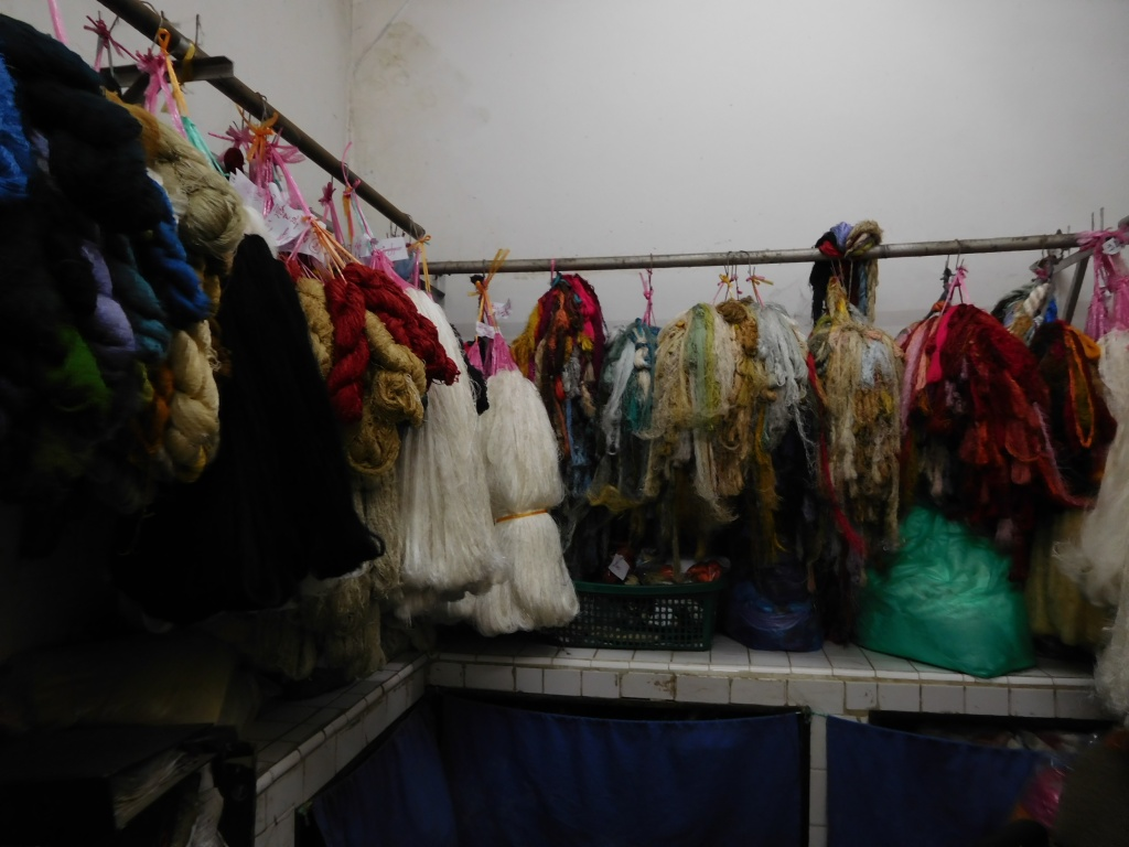 The dyed yarn ready to be woven