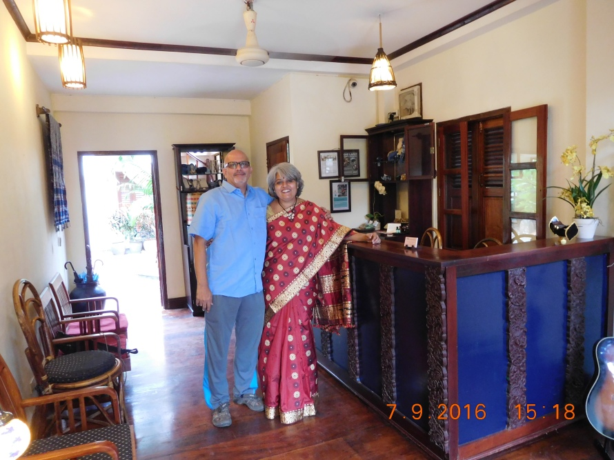 Krishnan is in a Cooptex Linen shirt and am wearing an Assam silk handwoven sari that was gifted by Geetu