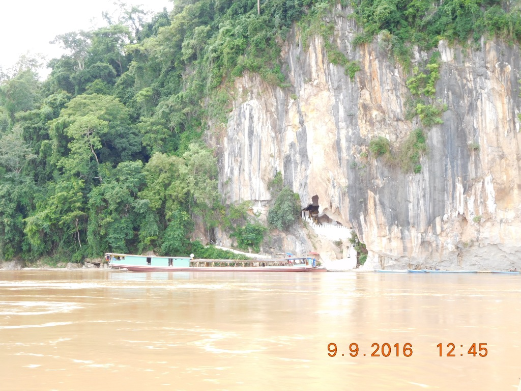 The Pak Ou caves - just the lower cave is seen from the river.