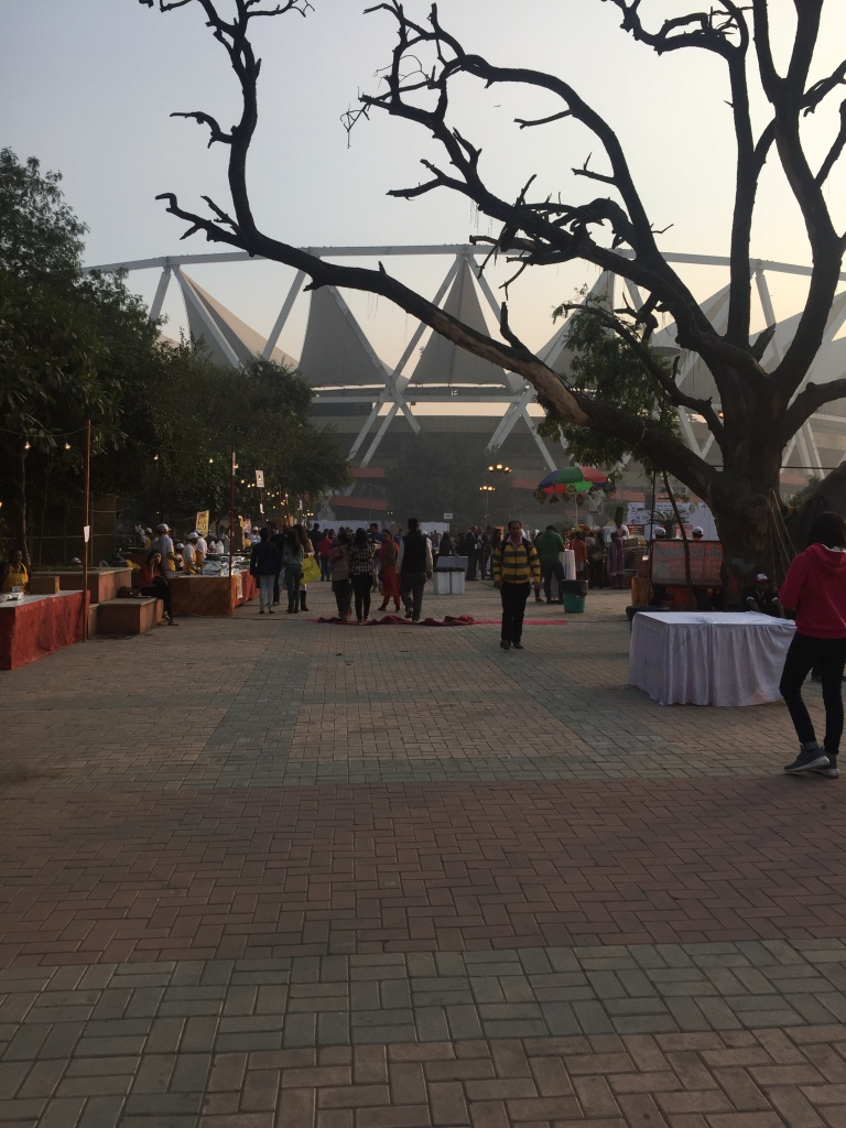 The grounds just outside the Jawaharlal Nehru stadium where the stalls are setup